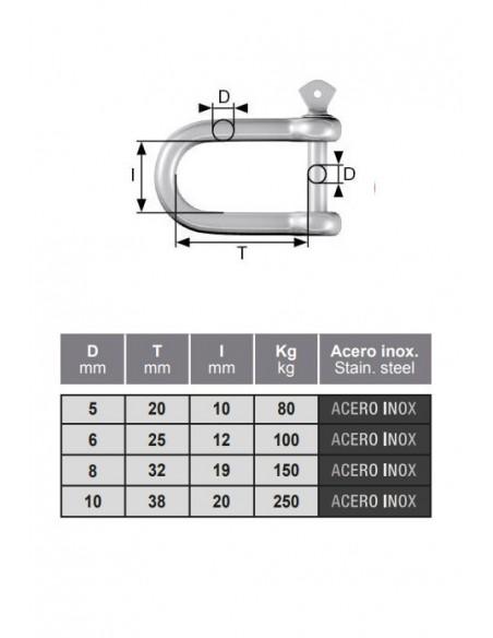 Grillete con perno - detalle medidas