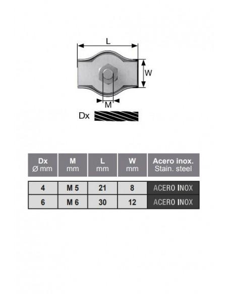 Sujetacable plano simple - detalle medidas
