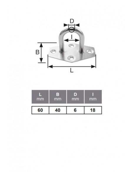 Placa con semianilo - detalle medidas