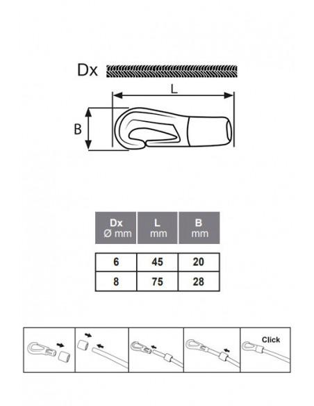Mosquetón nylon para cuerda elástica - detalle medidas