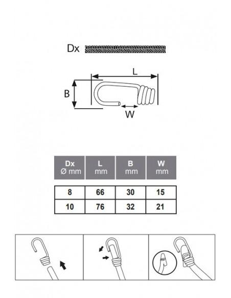 Gancho metálico plastificado para cuerda elástica - detalle medidas
