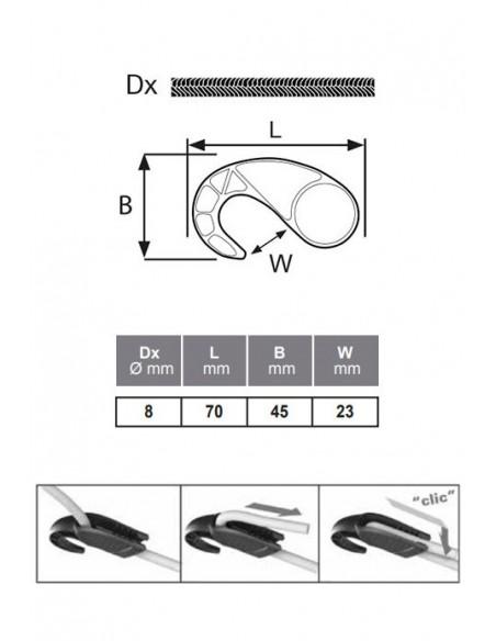 Gancho plástico negro para cuerda elástica - detalle medidas