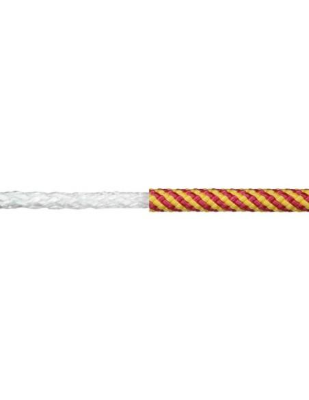 Cuerda polipropileno trenzada con alma mt amarillo/rojo detalle