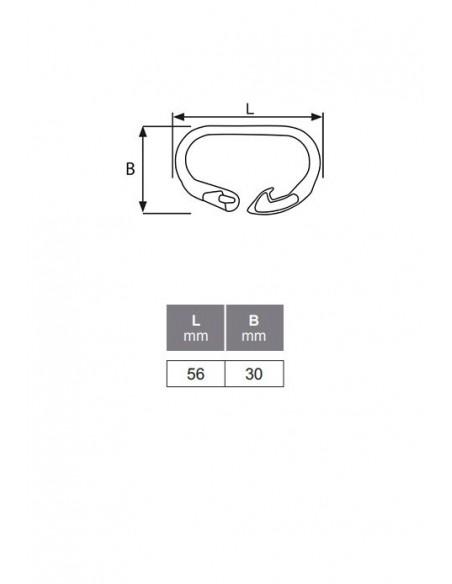 Mosquetón clip - detalle medidas