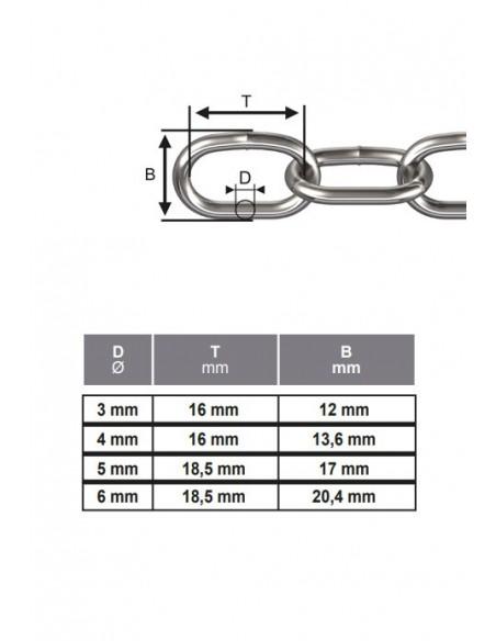 Cadena de Acero Inoxidable de eslabones semilargos - detalle medidas