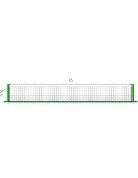 Red Pádel Alta Competición con cinta superior y en laterales en Poliéster - medidas